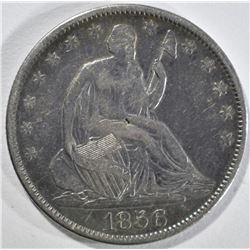 1856 SEATED HALF DOLLAR, VF scratches