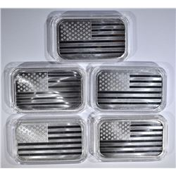 5-ONE OUNCE .999 SILVER AMERICAN FLAG BARS IN CAPS