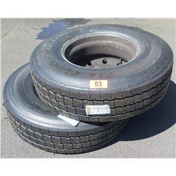 Qty 2 BF Goodrich ST230315/80R22.5 Tires - Recap w/ Rims