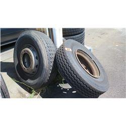 Qty 3 BF Goodrich ST230 Tires - Recap w/ Rim, (2 are 315/80R22.5, 1 unknown)