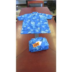 Qty 4 Blue Island Traditions of Hawaii Men's Aloha Print Shirt (Size 3X)