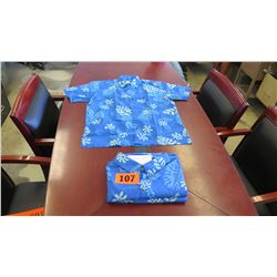Qty 2 Blue Island Traditions of Hawaii Men's Aloha Print Shirt (Size 6X)
