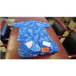 Qty 3 Blue Island Traditions of Hawaii Men's Aloha Print Shirt (Size XL)