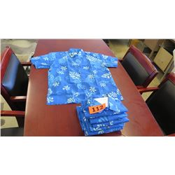 Qty 8 Blue Island Traditions of Hawaii Men's Aloha Print Shirt (Size M)
