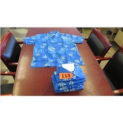 Qty 7 Blue Island Traditions of Hawaii Men's Aloha Print Shirt (Size S)