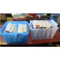 Qty Plastic Storage Bins w/ 3-Ring Binders