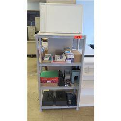 Shelf and Contents (Whiteboards, Orfice Supplies, Cash Box, Locks, etc) 25.24 x 15 x 51.75 H
