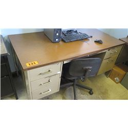 Desk with Metal File Drawers (broken handle on one drawer) 60 x 30 x 29.25 H