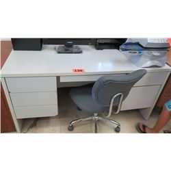 White 6-Drawer Desk 60 x 30 x 29.25 H