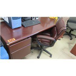 Wooden Desk w/ Brown Office Chair (desk missing corner piece) 66.5 x 29 x 31 H