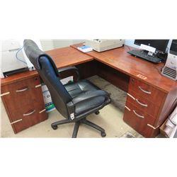 Wooden Desk Ensemble w/ Black Office Chair (Small): 47.25 x 24.25 x 28.5 H (Large): 66.5 x 30 x 28.7
