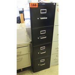 HON Black 4-Drawer Vertical File Cabinet 25 x 15 x 52 H. No key. Lock is broken.