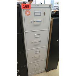 HON Tan 4-Drawer Vertical File Cabinet w/ Key 26.5 x 15 x 52 H