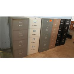 Qty 6 Vertical File Cabinets (3) 27 x 18 x 52, (3) 25 x 15 x 52