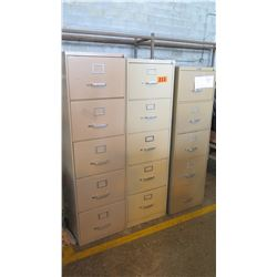 Qty 3 Vertical Metal File Cabinets 28.5 x 18 x 61.5(H1), 60(H2), 58(H3)