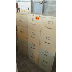 Qty 3 Vertical Metal File Cabinets (2) 26.75 x 15 x 52, (1) 26.75 x 18 x 52