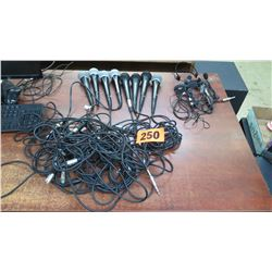 Qty 8 Handheld Microphones & Misc. Cables