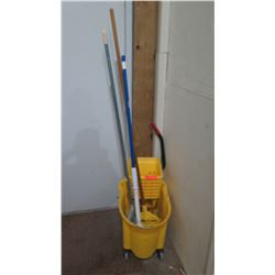 Yellow Mop Bucket w/ Mops