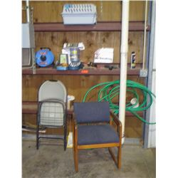 2 Chairs and Cotents of Shelf: Hose, Hose Nozzle, Cat Feeder, Measuring Tape