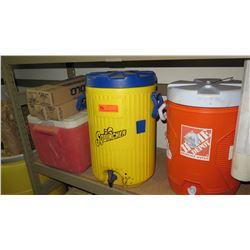Qty 3 Plastic Coolers & Cups