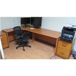 L-Shaped Wooden Desk Ensemble w/File Cabinet