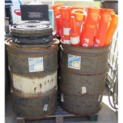 Contents of Pallet: Empty 5-Gal Drums, Delineators