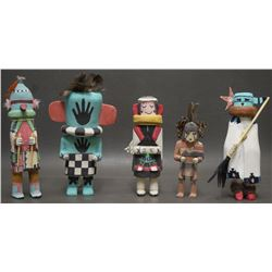 FIVE HOPI INDIAN KACHINAS