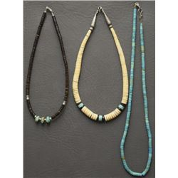 THREE SANTO DOMINGO INDIAN NECKLACES