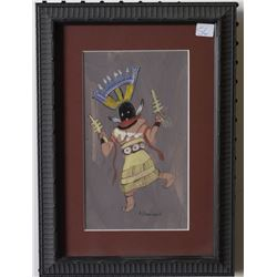 NAVAJO INDIAN PAINTING ( TSINAJINNIE)