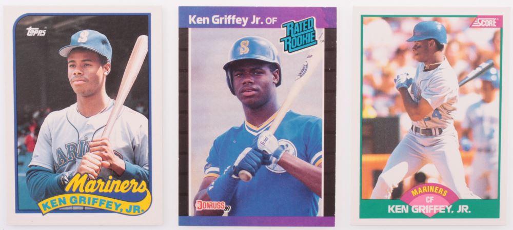 499c194731 Lot of (3) Ken Griffey Jr. Baseball Cards with 1989 Fleer #548 RC ...