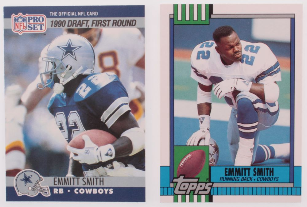 Lot Of 2 Emmitt Smith Football Cards With 1990 Topps