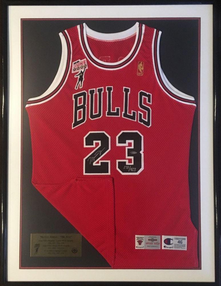 best service 79b12 2dfa7 Michael Jordan Signed Bulls 34x50 Custom Framed Limited ...