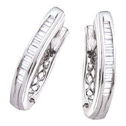 0.47 CTW Diamond Hoop Earrings 14KT White Gold - REF-41X9Y