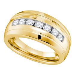 0.78 CTW Mens Channel-set Diamond Ridged Wedding Ring 10KT Yellow Gold - REF-67H4M