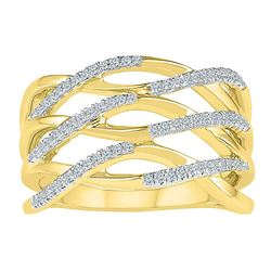 0.25 CTW Diamond Crossover Strand Ring 10KT Yellow Gold - REF-33H8M