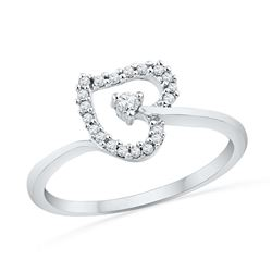 0.13 CTW Diamond Heart Outline Solitaire Ring 10KT White Gold - REF-14M9H