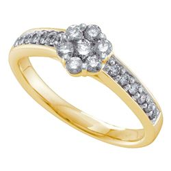 0.49 CTW Diamond Flower Cluster Ring 14KT Yellow Gold - REF-59N9F