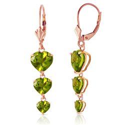 Genuine 6 ctw Peridot Earrings Jewelry 14KT Rose Gold - REF-66P9H