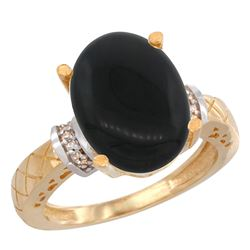 Natural 5.53 ctw Onyx & Diamond Engagement Ring 10K Yellow Gold - REF-38G2M