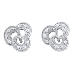 0.06 CTW Diamond Trinity Stud Earrings 10KT White Gold - REF-8F9N