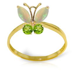Genuine 0.70 ctw Opal & Peridot Ring Jewelry 14KT Yellow Gold - REF-30H3X
