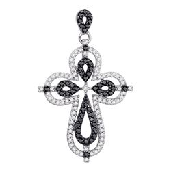 0.54 CTW Black Color Diamond Cross Faith Pendant 10KT White Gold - REF-26K9W