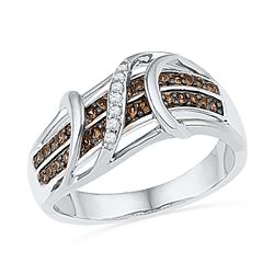0.25 CTW Cognac-brown Color Diamond Crossover Strand Ring 10KT White Gold - REF-32M9H