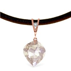 Genuine 12.81 ctw White Topaz & Diamond Necklace Jewelry 14KT Rose Gold - REF-45F2Z