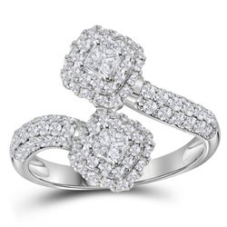 1.51 CTW Princess Diamond 2-stone Hearts Bypass Bridal Ring 14KT White Gold - REF-161M2H