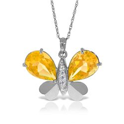 Genuine 7.1 ctw Citrine & Diamond Necklace Jewelry 14KT White Gold - REF-126R5P