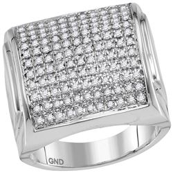 1 CTW Mens Diamond Domed Square Cluster Ring 10KT White Gold - REF-64M4H