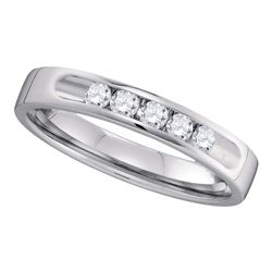 0.25 CTW Diamond 5-stone 3.5mm Wedding Ring 14KT White Gold - REF-44K9W