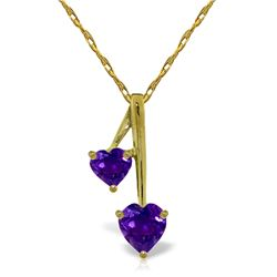 Genuine 1.40 ctw Amethyst Necklace Jewelry 14KT Yellow Gold - REF-23H8X