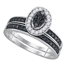 0.50 CTW Black Color Diamond Cluster Bridal Halo Ring 10KT White Gold - REF-25Y4X